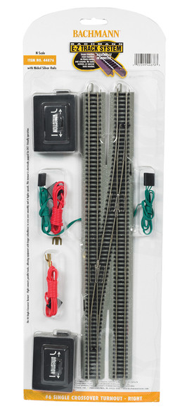 Bachmann 44876 EZ-Track #6 Single Crossover Turnout Right w/ Nickel Silver Rails N Scale