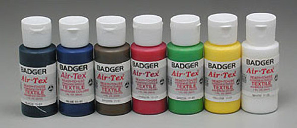 Badger 1101 Air-Tex Textile Airbrush Primary Colors 1oz ea (7)