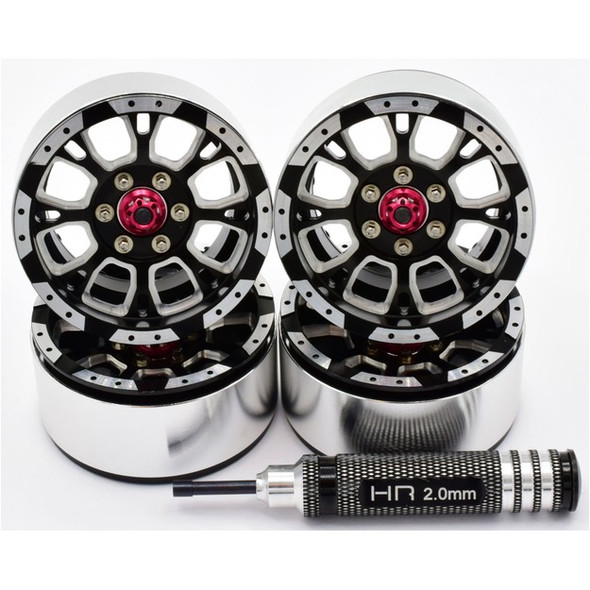 Hot Racing BLW19SLC01 Alum Billet 1.9 Beadlock Wheels w/12mm Hex C-Style (4)