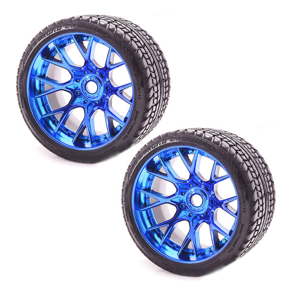 Sweep Racing SRC Monster Truck Road Crusher Belted Tire Blue Chrome Wheel (2)