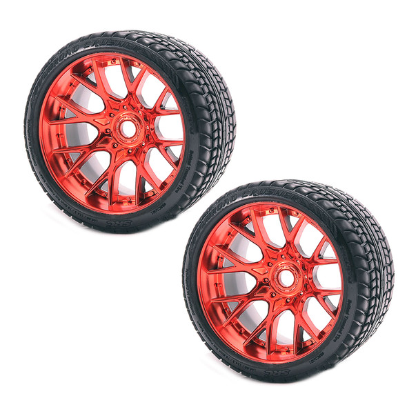 Sweep Racing SRC Monster Truck Road Crusher Belted Tire Red Wheel (2Pcs) Set