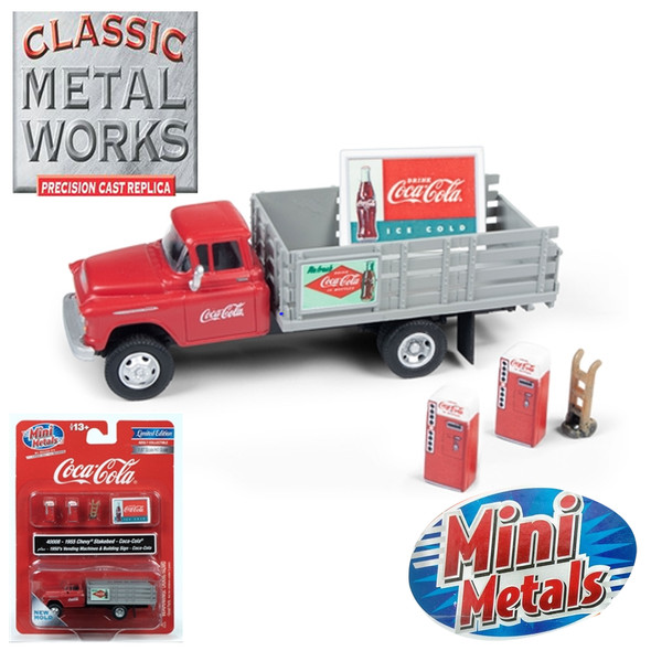 Classic Metal Works 1955 Chevy Stakebed Truck Coca-Cola w/1950's Machines Hand Truck & Sign 1:87 HO