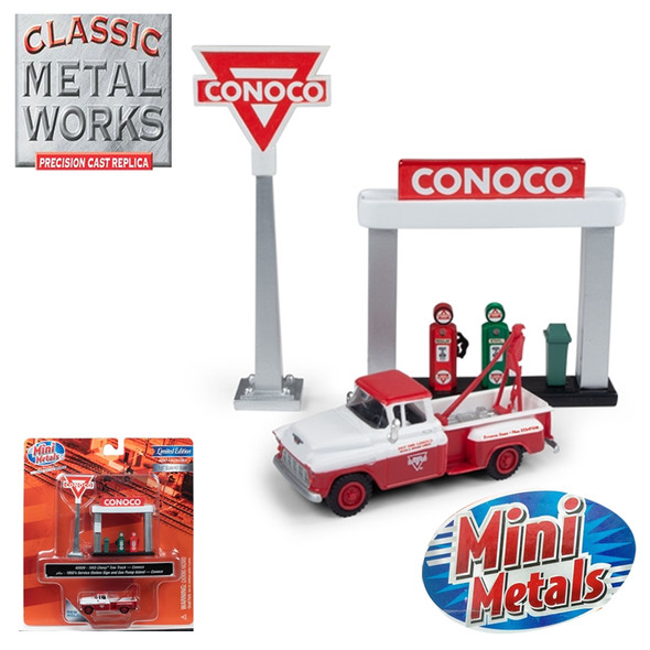 Classic Metal Works 1955 Chevy Tow Truck w/Station Sign & Gas Pump Island Conoco 1:87 HO Scale