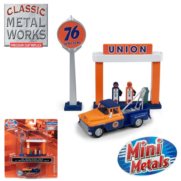 Classic Metal Works 40010 1955 Chevy Tow Truck w/Station Sign & Gas Pump Island Union 76 1:87 HO Scale