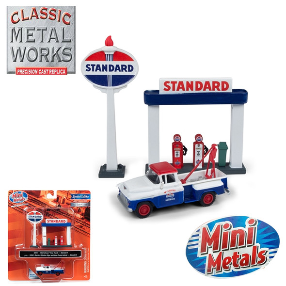 Classic Metal Works 1955 Chevy Tow Truck w/Station Sign & Gas Pump Island Standard 1:87 HO Scale