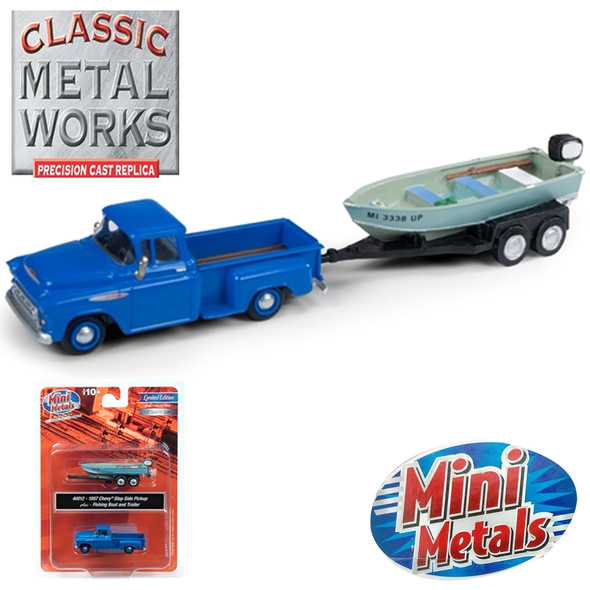 Classic Metal Works 40012 1957 Chevy Step Side Pickup Truck w/Fishing Boat & Trailer 1:87 HO Scale
