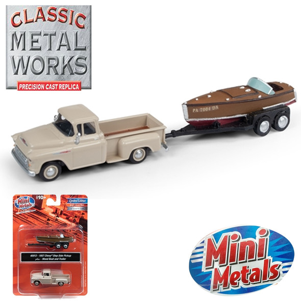 Classic Metal Works 40013 1957 Chevy Step Side Pickup Truck w/Wood Boat & Trailer 1:87 HO Scale