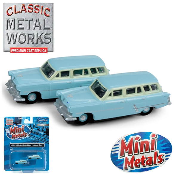 Classic Metal Works 50401 1953 Ford Station Wagon Cascade Green (2-Pack) N Scale