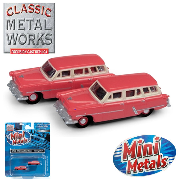 Classic Metal Works 50403 1953 Ford Station Wagon Flamingo Red (2-Pack) N Scale