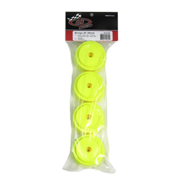 DE Racing Borrego SC Yellow Wheels (4) : Kyosho Ultima SC / Slash Rear - Slash 4x4