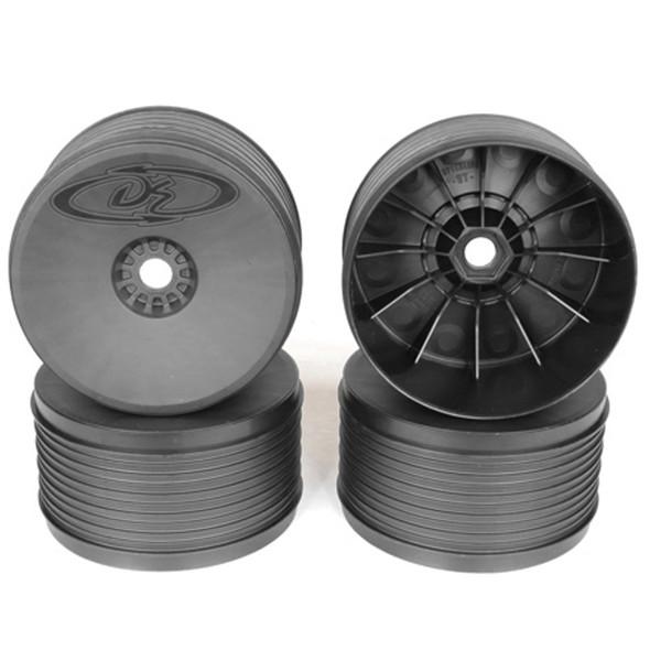 DE Racing DER-PT4-8B Speedline Plus Truggy Black Wheels (4Pcs) : 1/8 Truggy