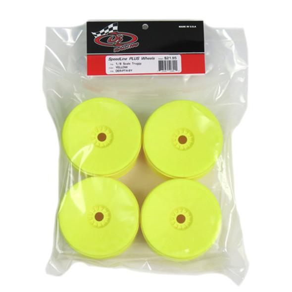 DE Racing DER-PT4-8Y Speedline Plus Truggy Yellow Wheels (4Pcs) : 1/8 Truggy