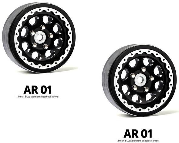 Gmade GM70344 1.9 AR01 5 Lug Aluminum beadlock wheels (2)