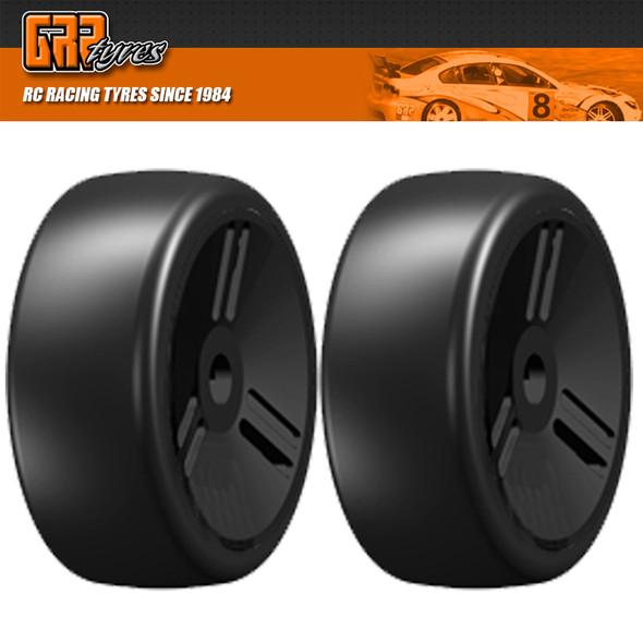 GRP 1:8 GT T02 SLICK VELOCITY S4 SoftMedium Belted Tire w/ Closed Black Wheel (2)