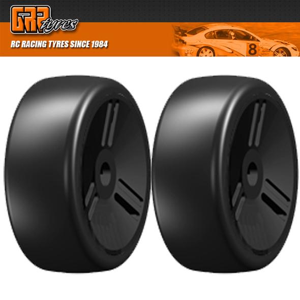 GRP 1:8 GT T02 SLICK VELOCITY S7 MediumHard Belted Tire w/ Closed Black Wheel (2)