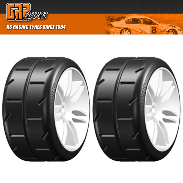 GRP GWH02-P5 1:5 TC W02 REVO P5 Medium Belted Tire w/ Wheel White (2)