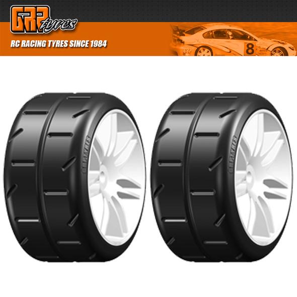 GRP GWH02-S1 1:5 TC W02 REVO S1 SuperSoft Belted Tire w/ Wheel White (2)