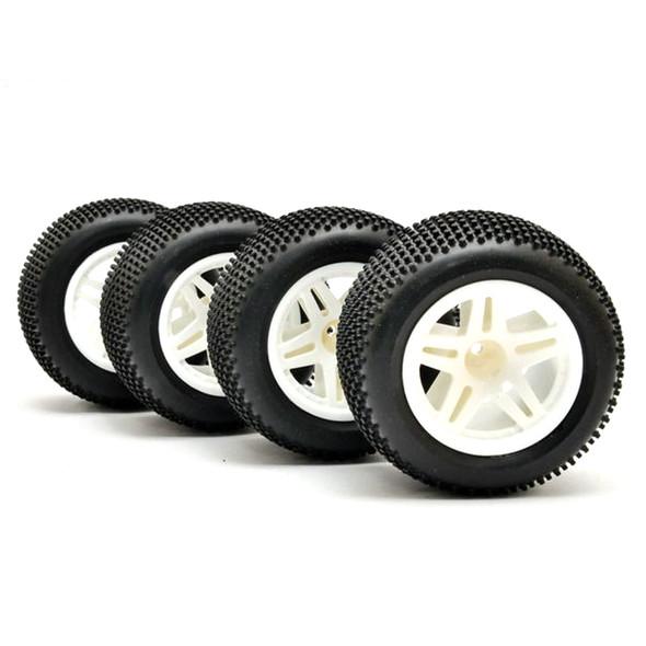 HoBao 11105 1/10 Truck Tires Mounted White Wheels (4) : Hyper TT