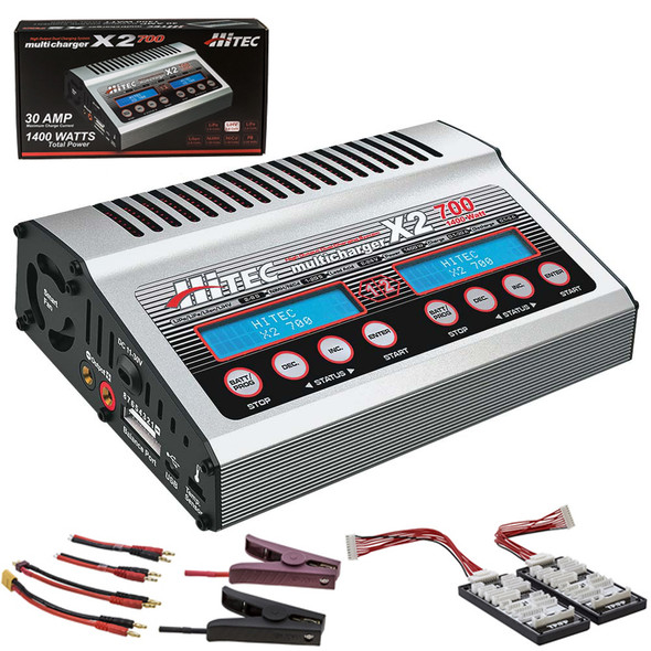 Hitec 44239 X2-700 Dual Port DC Multi Battery Charger Lipo LiFe LiIon NiMH