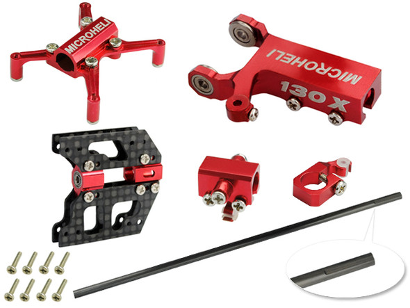 Microheli Tail Boom Round 4mm combo (RED) (for MH Frame series) Blade 130X / 130 X