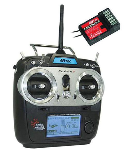 Hitec 170253 Flash 7 7-Chan Transmitter W/ Maxima 6 6-Chan Receiver