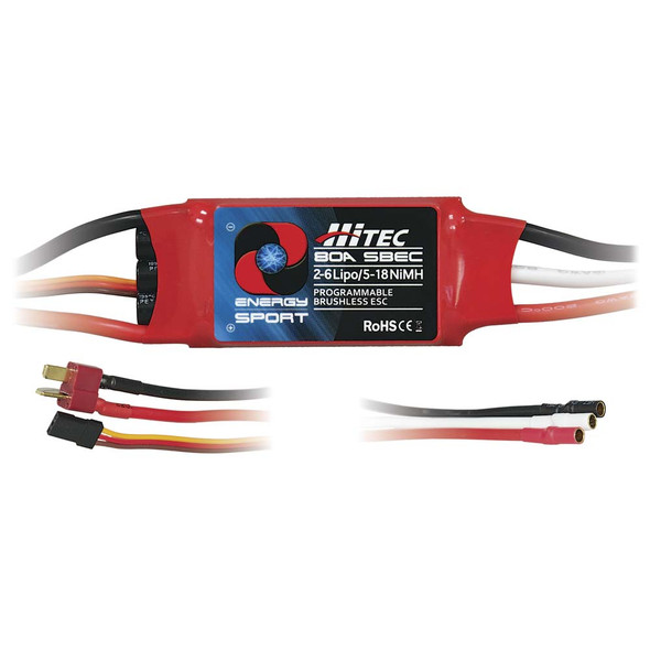 Hitec Energy Sport 80A Progammable Brushless Aircraft ESC / Speed Control