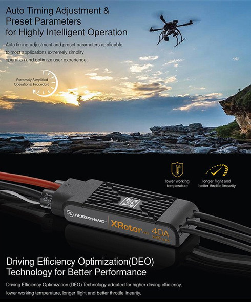 HobbyWing XRotor PRO 40A Brushless ESC Dual Pack Speed Control COB Direct Connection