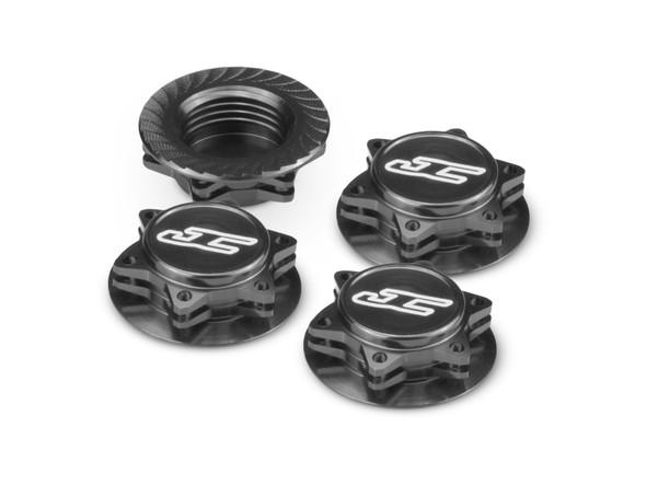 JConcepts 24512 Fin 1/8 Serrated Light Weight Wheel Nut Black (4)