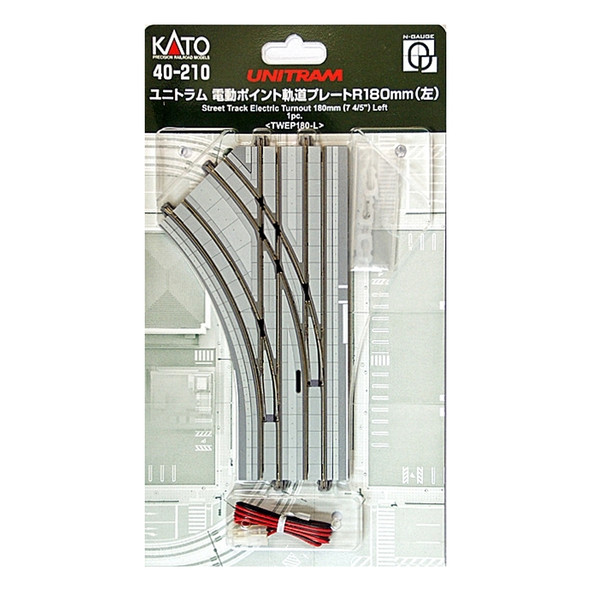 Kato 40-210 UNITRAM R180mm Left Electric Turnout Street Track : N Scale