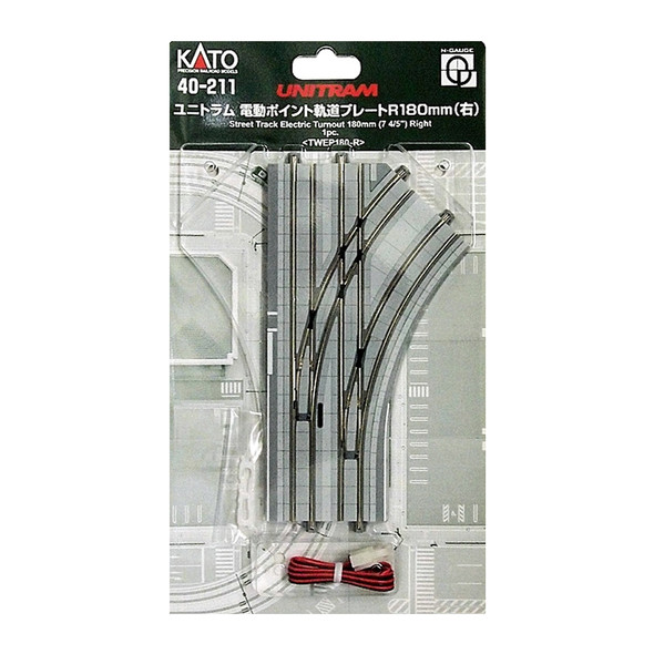 Kato 40-211 UNITRAM R180mm Right Electric Turnout Street Track : N Scale