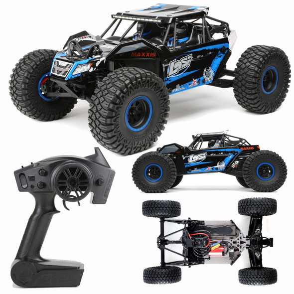 Losi LOS03009T2 1/10 Brushless Rock Rey 4WD RTR Racer with DX2E Radio AVC, Blue