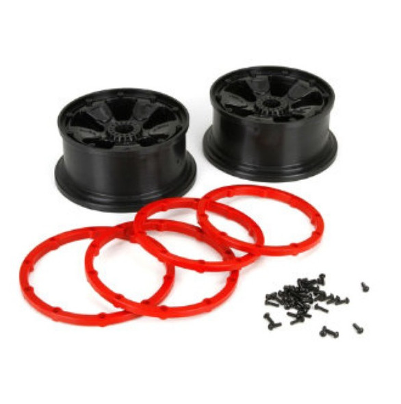 Losi LOS45005 Wheel/Beadlock, Black (2) 1/5th 4WD Desert Buggy XL