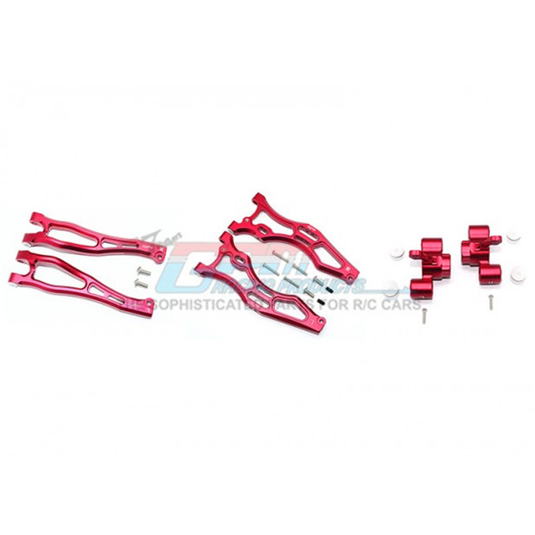 GPM Alum Front Upper&Lower Arms+Front Knuckle Arms Red : Kraton/Outcast