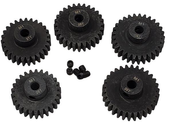 NHX MOD1 5mm Bore Hardened Steel Pinion Gears: 26T, 27T, 28T, 29T, 30T