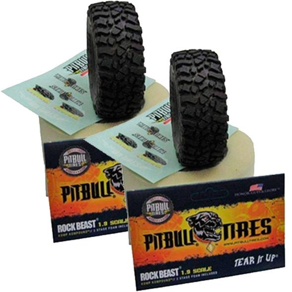 PITBULL ROCK BEAST 1.55 SCALE RC TIRES (ALIEN KOMPOUND) W/FOAM - 2pcs