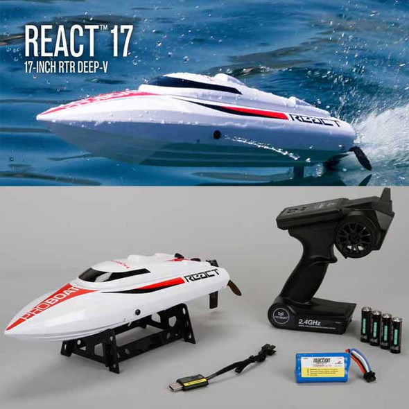 Pro Boat PRB08024 React 17 Self-Righting Brushed 17-inch Deep-V Boat RTR w/Radio