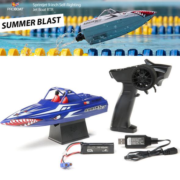 "Pro Boat PRB08045T2 Sprintjet 9"" Self-Righting Jet Boat Brushed RTR Blue"