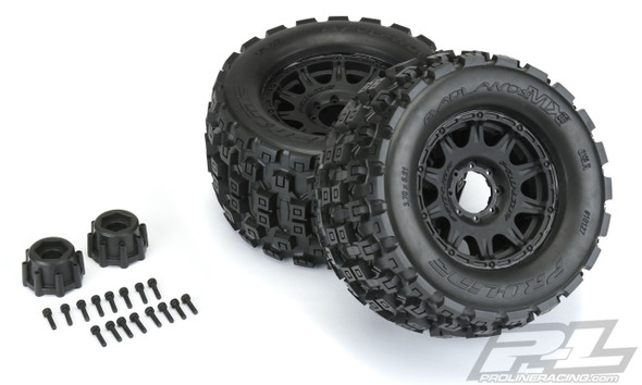 "Pro-Line 10127-10 Badlands MX38 3.8"" All Terrain Tires Mounted w/ Black Wheels : F/R"