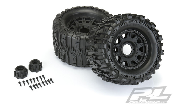 """Pro-Line 10155-10 Trencher HP 3.8"""" All Terrain BELTED Tires Mntd w/ Black Wheels : F/R"""