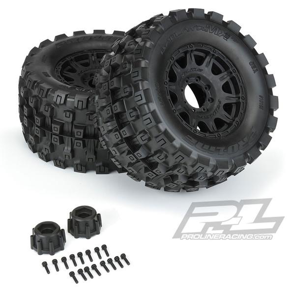 "Pro-Line 10166-10 Badlands MX38 HP 3.8"" All Terrain BELTED Tires w/ Black Wheels"