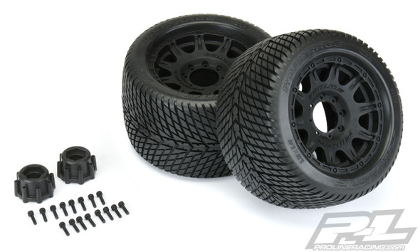 "Pro-Line 1177-10 Road Rage 3.8"" Street Tires Mounted w/ Black Wheels : Front or Rear"