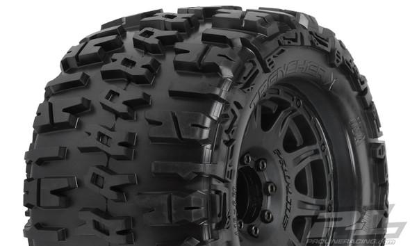 "Pro-Line 1184-10 Trencher X 3.8"" All Terrain Tires Mntd w/ Black Wheels : F/R"