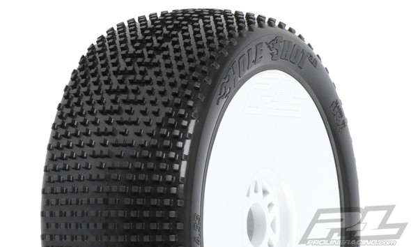 Pro-Line 9041-233 Hole Shot 2.0 Soft 1:8 Buggy Tires Mounted White Wheels (2) : F/R