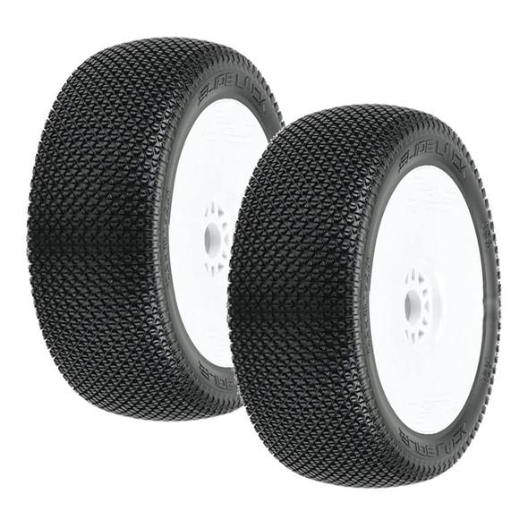 Pro-Line 9064-233 Slide Lock S3 Soft 1:8 Buggy Tires Mtd V2 White Wheels (2) : F/R