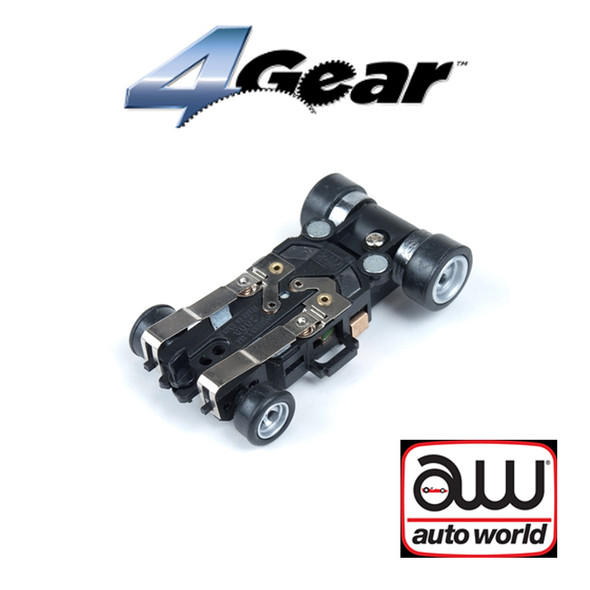 Auto World 4Gear Complete Chassis (1) Pk : 1:64 / HO Scale Slot Car