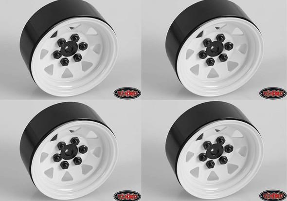 RC4WD 6 Lug Wagon 1.9 Steel Stamped Beadlock Wheels White 4pcs 1/10 Sawback