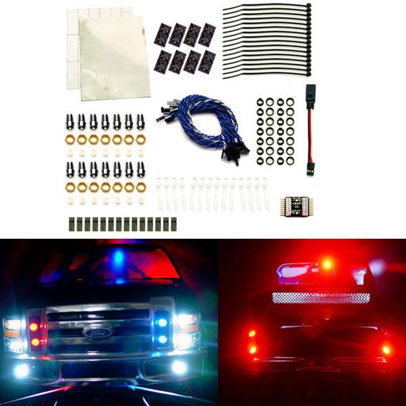 RC Lights 911 Strobe 14 LED Lights Police System (5mm, 14) : 1:12 to 1:8 Vehicle
