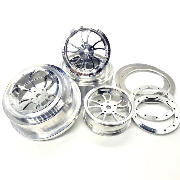 """Reef's RC KURL Beadlock Aluminum 2.2/3.0"""" Drag Wheels w/ Rings & Hardware (4pcs)"""