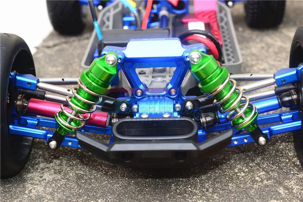 GPM F/R Alum Shocks+Steel #45 Axles+Spring Steel Hex Blue : Rustler 4x4 VXL