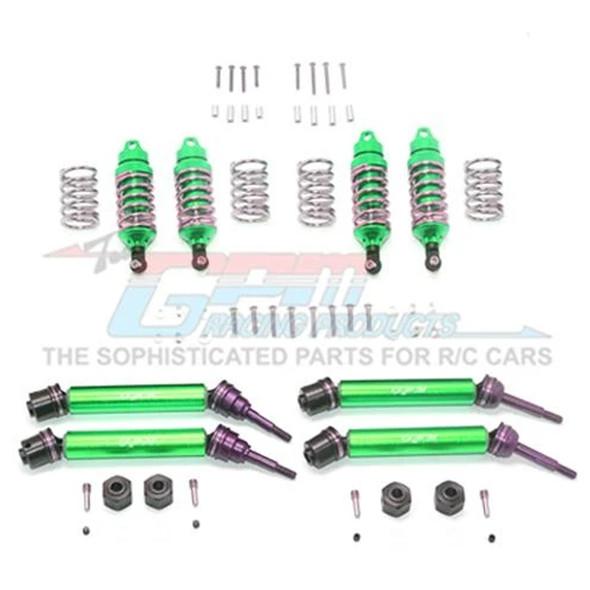 GPM F/R Alum Shocks+Steel #45 Axles+Spring Steel Hex Green : Rustler 4x4 VXL